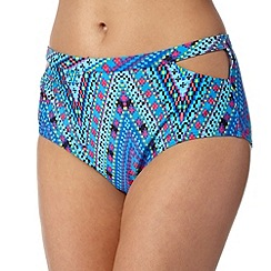 Butterfly by Matthew Williamson - Designer blue aztec chevron cutout bikini bottoms