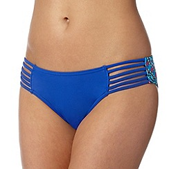 Butterfly by Matthew Williamson - Designer blue aztec strap side bikini bottoms
