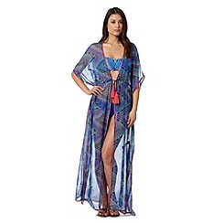 Butterfly by Matthew Williamson - Designer blue aztec chevron maxi kimono