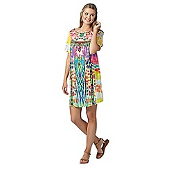 Butterfly by Matthew Williamson - Designer pink aztec feather beach dress