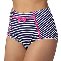Floozie by Frost French - Purple textured stripe high waisted bikini bottoms