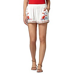 Butterfly by Matthew Williamson - Designer white floral embellished shorts