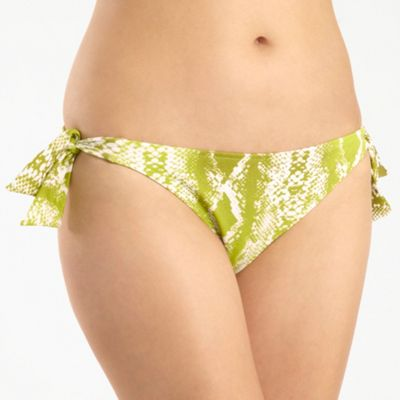 Green Snake Print Tie Side Bikini Bottoms