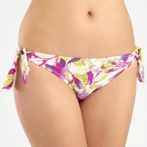 Ultimate Beach - Green tropical flower tie-side bikini bottoms