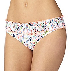 Iris & Edie - White shirred ditsy floral bikini bottoms