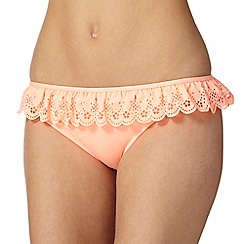 Iris & Edie - Peach scalloped heart cutout bikini bottoms