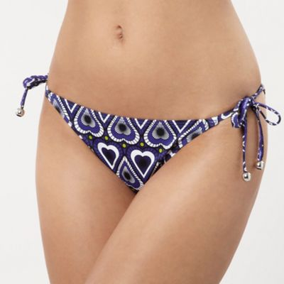 Purple Heart Tile Print Tie-side Bikini Bottoms