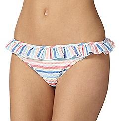 Iris & Edie - White striped frill bikini bottoms