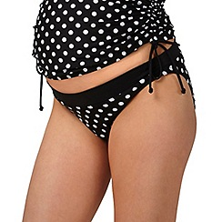 Beach Collection - Black polka dot maternity bikini bottoms