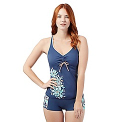 Maine New England - Grey ruched leaf tankini top