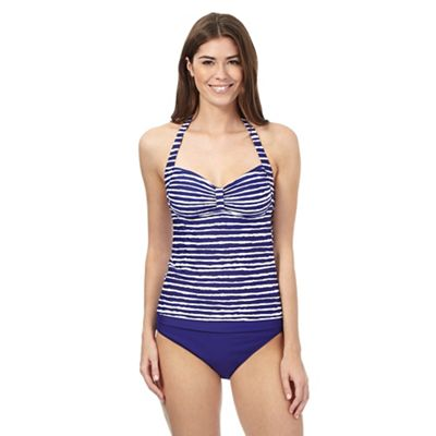 Beach Collection Navy wavy striped halter tankini top - . -