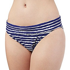 Beach Collection - Navy wavy striped folded bikini bottoms