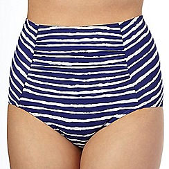 Beach Collection - Navy wavy striped high waisted bikini bottoms