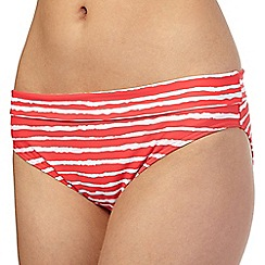 Beach Collection - Coral wavy striped folded bikini bottoms