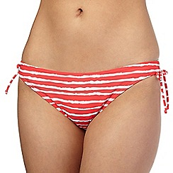 Beach Collection - Coral wavy striped ruched side bikini bottoms