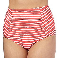 Beach Collection - Coral wavy striped high waisted bikini bottoms