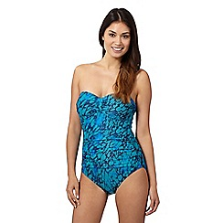 Beach Collection - Aqua animal print tummy control bandeau swimsuit
