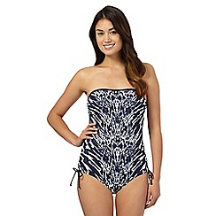 Beach Collection - Navy animal print tummy control bandeau swimsuit