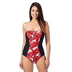 Beach Collection - Red poppy panel swimsuit