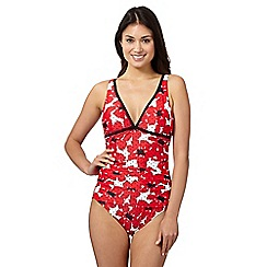 Beach Collection - Red poppy print V neck tummy control swimsuit