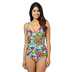 Beach Collection - Aqua tropical print tummy control swimsuit
