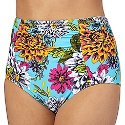 Beach Collection - Aqua tropical print high waist bikini bottoms