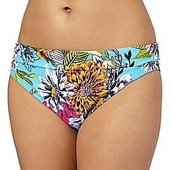 Beach Collection - Aqua tropical print fold bikini bottoms