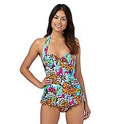 Beach Collection - Blue floral tummy control frill swimsuit
