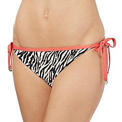 Butterfly by Matthew Williamson - Black zebra print tie side bikini bottoms