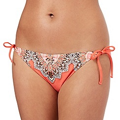 Butterfly by Matthew Williamson - Coral paisley trim side tie bikini bottoms