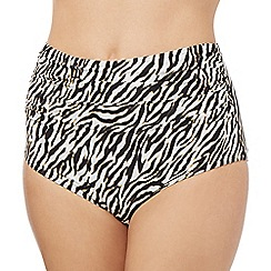 Butterfly by Matthew Williamson - Black zebra print high waisted bikini bottoms