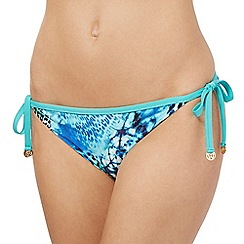Butterfly by Matthew Williamson - Blue butterfly graphic reversible side tie bikini bottoms