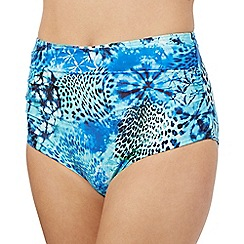 Butterfly by Matthew Williamson - Blue butterfly graphic high waisted bikini bottoms