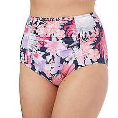 Reger by Janet Reger - Navy floral high waist bikini bottoms
