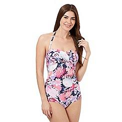 Reger by Janet Reger - Pink floral bandeau swimsuit