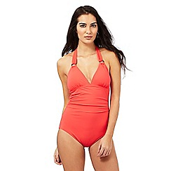 Principles by Ben de Lisi - Coral halter neck tummy control swimsuit
