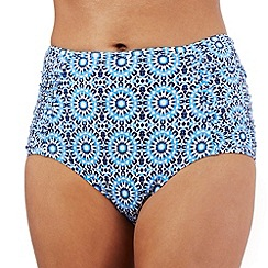 Principles by Ben de Lisi - Navy mosaic print high waisted bikini bottoms