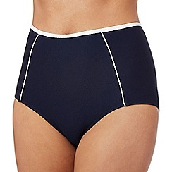 J by Jasper Conran - Navy textured high waisted bikini bottoms