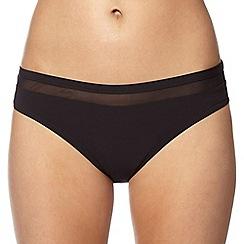J by Jasper Conran - Designer black mesh insert bikini bottoms