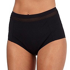 J by Jasper Conran - Designer black mesh insert high waisted bikini bottoms