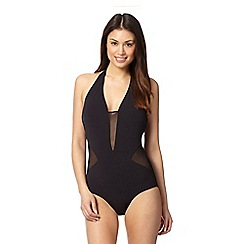 J by Jasper Conran - Designer black mesh insert halter neck swimsuit