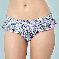 Gorgeous - Green floral ruffle bikini bottoms