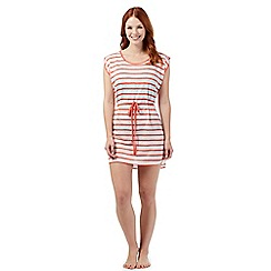 Beach Collection - Coral striped lace beach dress