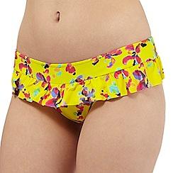 Lepel - Yellow floral frill bikini bottoms