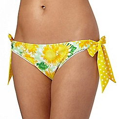 Floozie by Frost French - Yellow sunflower side tie bikini bottoms