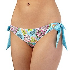 Floozie by Frost French - Blue leopard paisley tie side bikini bottoms
