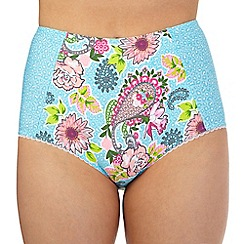 Floozie by Frost French - Blue leopard paisley high waist bikini bottoms