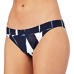J by Jasper Conran - Navy triangle print bikini bottoms