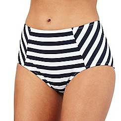 J by Jasper Conran - Navy striped print high waisted bikini bottoms