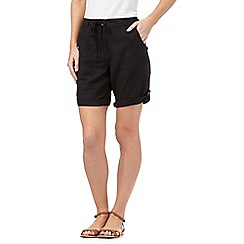 Beach Collection - Black linen blend cargo shorts
